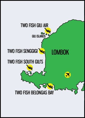 lombok map two fish divers