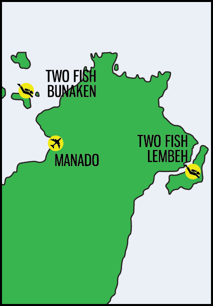 two fish divers manado map