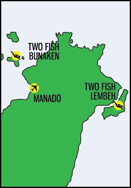 two fish divers manado map
