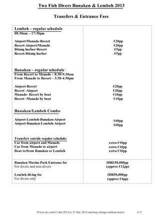 Transfers and Entrance Fees 2013