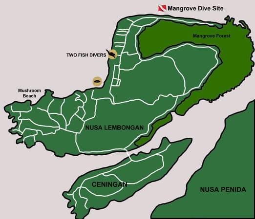 Mangrove Dive Site Map on Nusa Lembongan