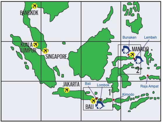 map of indonesian dive locations