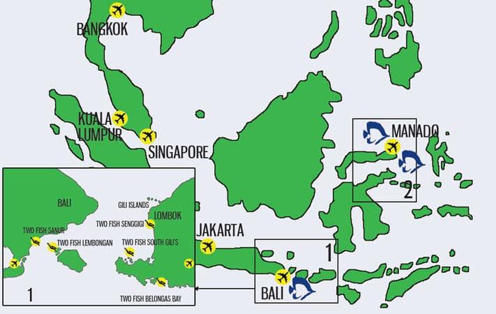 New Map Region Bali Lombok Two Fish Divers