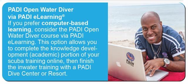 elearning option for the padi open water diver course