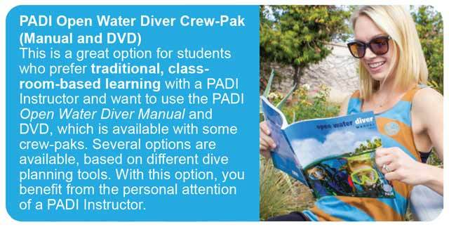 standard option for the padi open water diver course