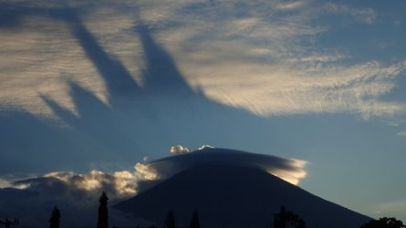 amed idc under the shadow of the rumbling Mount Agung